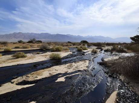 Petróleo bruto escorre através do deserto no sul de Israel, perto da aldeia de Beer Ora, ao norte de Eilat. Foto: Yehuda Ben Itach / Reuter