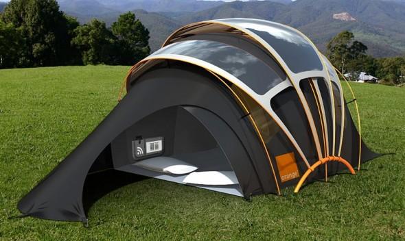 Barraca de camping tem sinal de internet e utiliza energia solar para carregar celulares