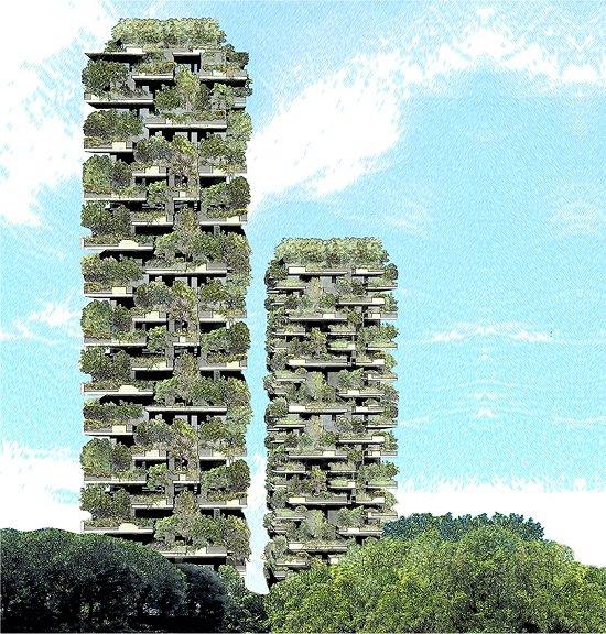 As duas torres da Floresta Vertical (Bosco Verticale), em Milão, destoam da aparência tradicional de vidro e concreto dos edifícios.[Imagem: Kheir Al-Kodmany]