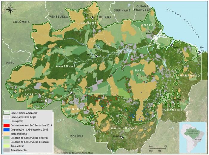 Boletim do desmatamento da Amazônia Legal (setembro de 2015) SAD