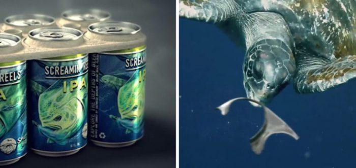 Marca de cerveja cria embalagem comestível para reduzir as mortes na vida marinha
