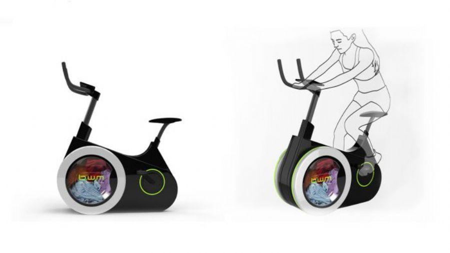 Bicicleta ergométrica lava sua roupa enquanto você pedala